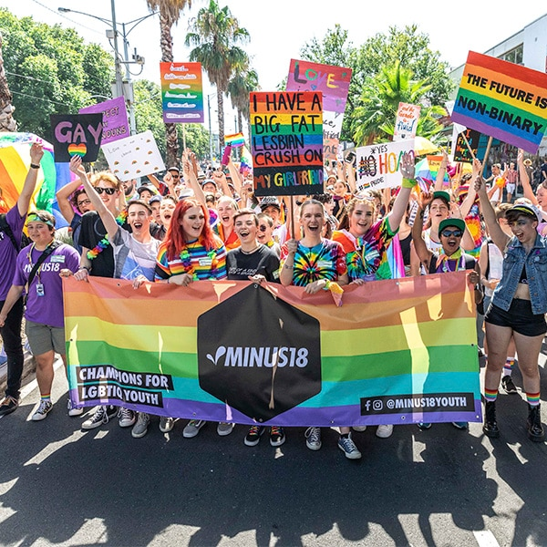 Proud supporters of Minus18, champions for LGBTQIA+ youth