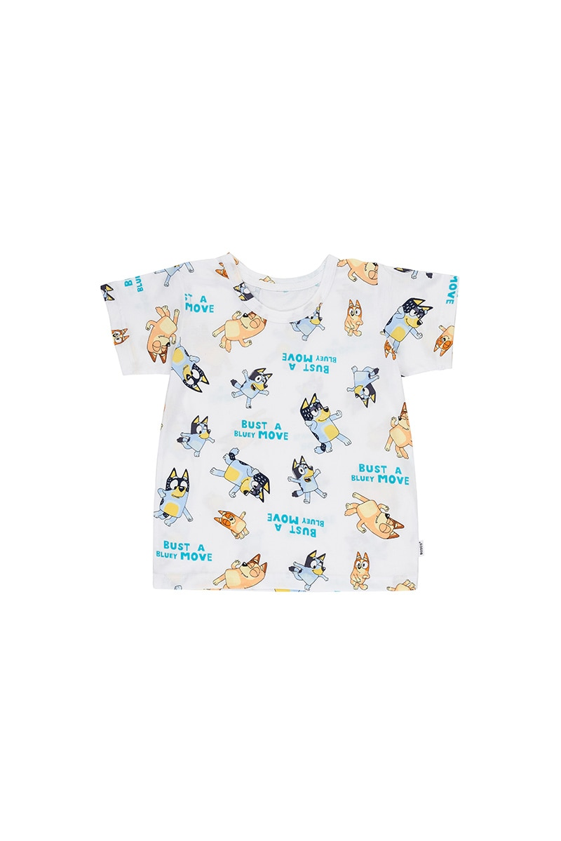 Bluey Kids Crew Tee - Bust A Bluey Move White