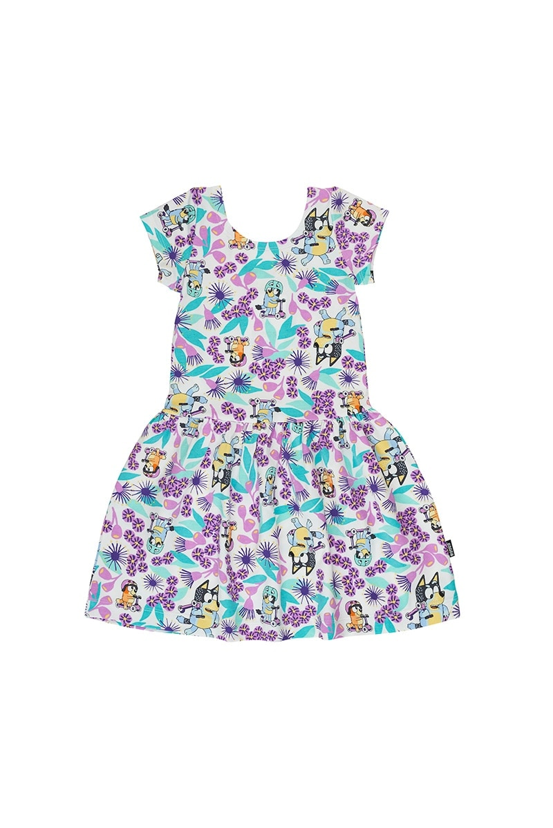 Bluey Hipster Dress - Blue's Ride White