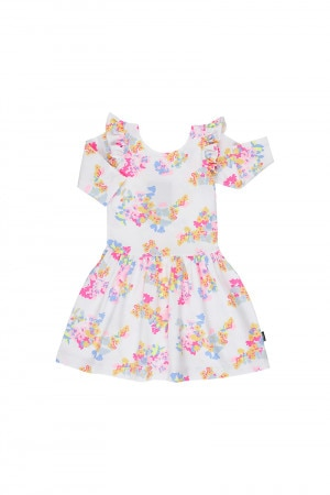 Bonds Girls 3/4 Sleeve Hipster Dress Fleur Floral White